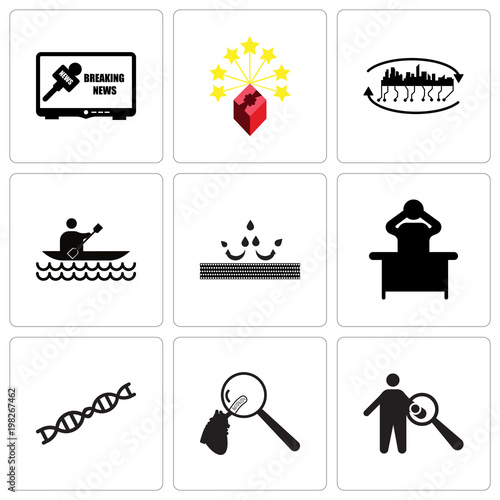 Set Of 9 simple editable icons such as symptoms, cholesterol, gene