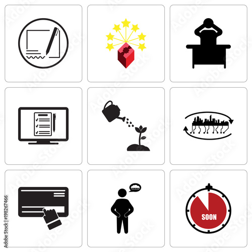 Set Of 9 simple editable icons such as soon, hunger, scratch card