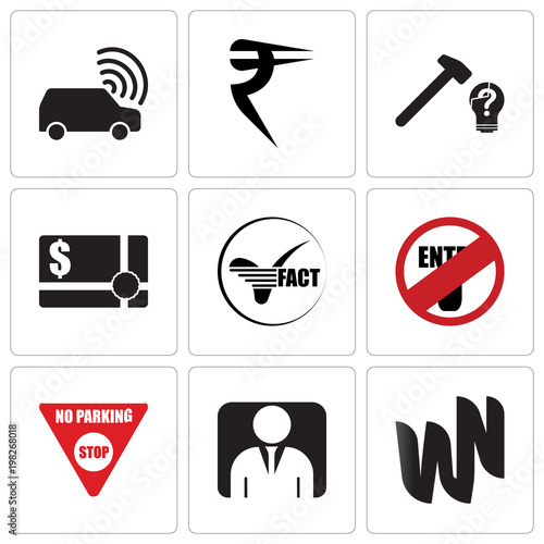 Stampe  Set Of 9 simple editable icons such as wn, default profile, no parking, restrict