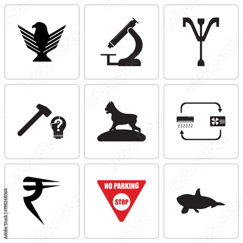 Set Of 9 simple editable icons such as whale, no parking