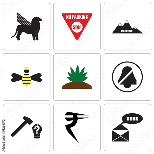 Stampe  Set Of 9 simple editable icons such as mms, rupees, problem solving, quiet, agav