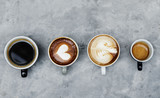 Fototapeta Kawa jest smaczna - Aerial view of various coffee