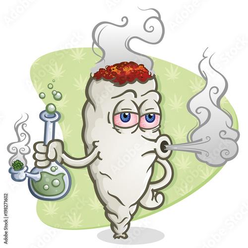 Photo Marijuana Joint Cartoon Character Smoking a Bong