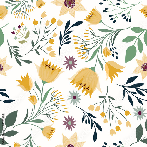 Seamless pattern with hand drawn elements, flowers and plants Wall mural