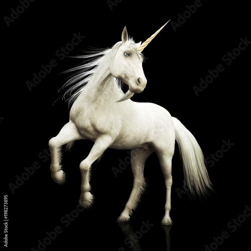 Photo  Unicorn majestic mythical horned horse on a black background