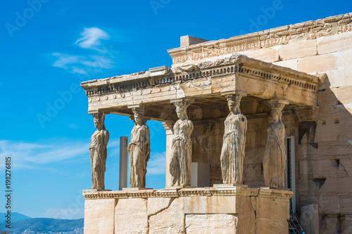 Foto op Canvas Athene The Porch of the Caryatids at the Erechtheion temple on the Acropolis, Athens, Greece