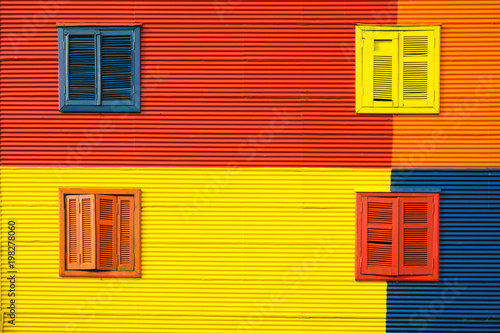 Spoed Fotobehang Buenos Aires Detail of a colorful house facade in La Boca, Buenos Aires