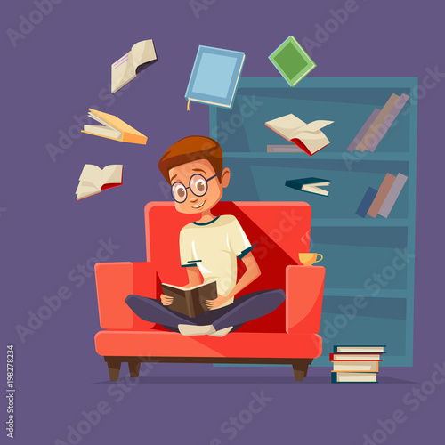 Super Vector Cartoon Young Man Reader Male Student Character Interior Design Ideas Gresisoteloinfo