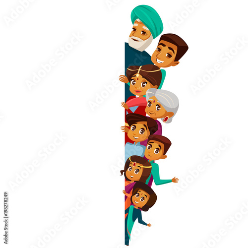 vector cartoon indian family characters peeping empty blank space