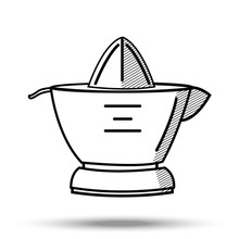 Citrus Juicer In Line Art Style. Illustration On Isolated Background.
