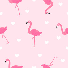 Flamingo Seamless Pattern Vector Illustration. Cute Flamingo With White Hearts On Pink Background