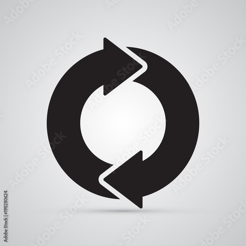 Carved silhouette flat icon, simple vector design. Circle with 2 arrows for illustration of time, round, dynamic and consistency. Symbol for store delivery
