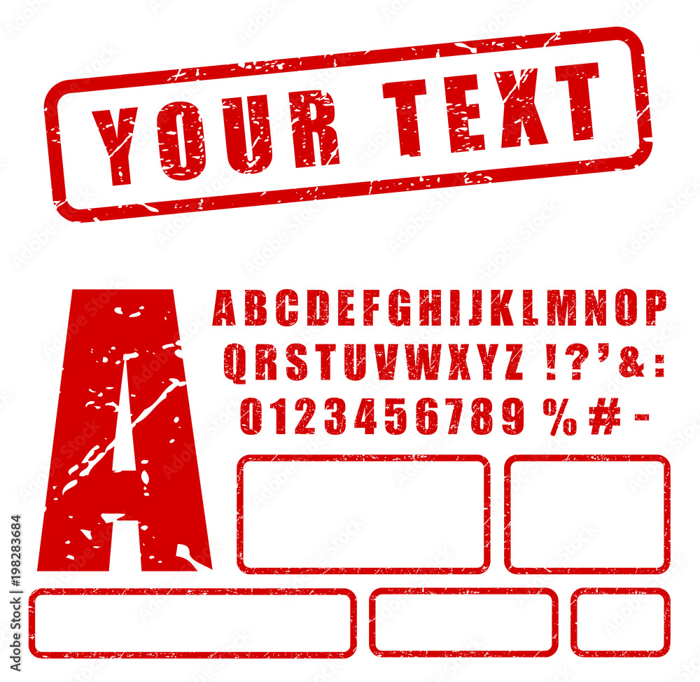 Fototapety, obrazy: red stamp letters and numbers set
