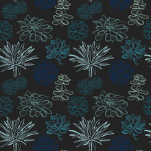 Seamless Pattern With Blue Suc...