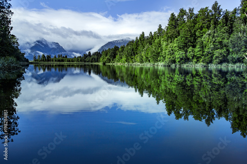 Canvas Prints New Zealand beautiful scenic of lake matheson most popular traveling destination in west coast southland on new zealand