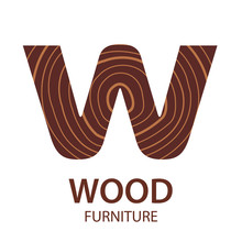 Logo Letter W, Wood Furniture. Vector Illustration, Concept Of Saw Cut Tree Trunk, Isolated On White Background For Forestry And Sawmill.  Logo Design Trendy Modern