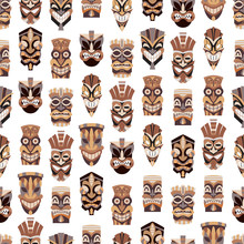 Tribal Tiki Mask Vector Seamless Pattern On A White Background For Wallpaper, Wrapping, Packing, And Backdrop. Cut Wooden Guise Flat Icon Set.