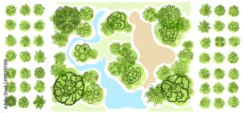 Fotobehang Wit Trees top view for landscape vector illustration.