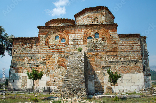 Romanesque style church. Mesopotam, Albania Canvas Print