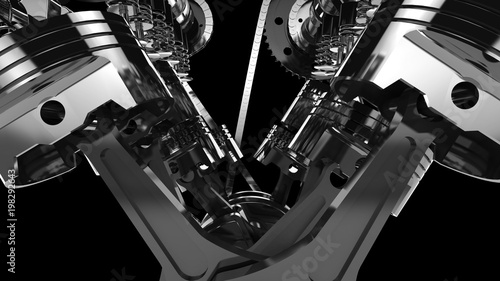 Close-up shot of a working V8 engine Canvas Print