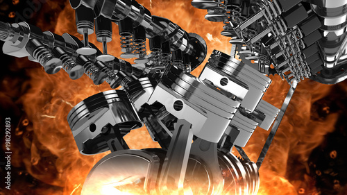 Photo  3D model of a working V8 engine with explosions and flames
