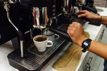 Artesanal Coffee Maker Unsing Coffee Machine In Bogota, Colombia