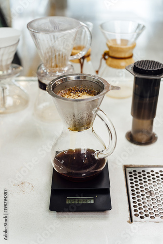 Paper Cone Filter In A Gl Pour Over Coffee Maker Bogota Colombia
