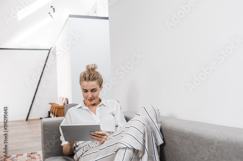 Happy Woman Using Technology Poster