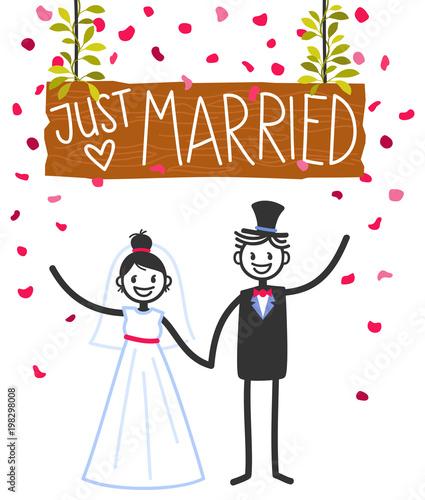Vector Wedding Illustration Of Happy Stick Figures Bridal