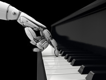 Robot Hand Presses The Key On ...