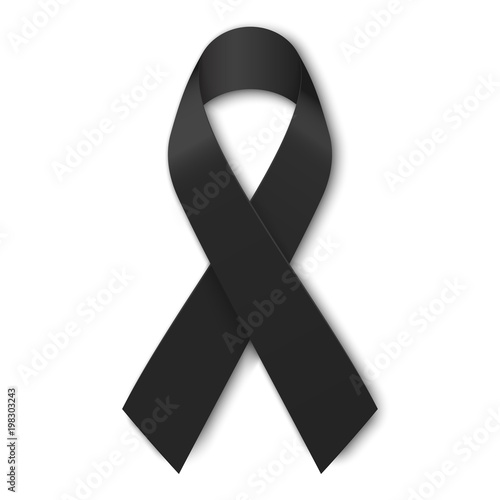 Black mourning ribbon isolated on white background Wallpaper Mural