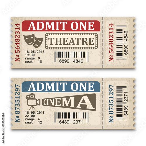 Fotografía  Cinema and theater tickets in retro style