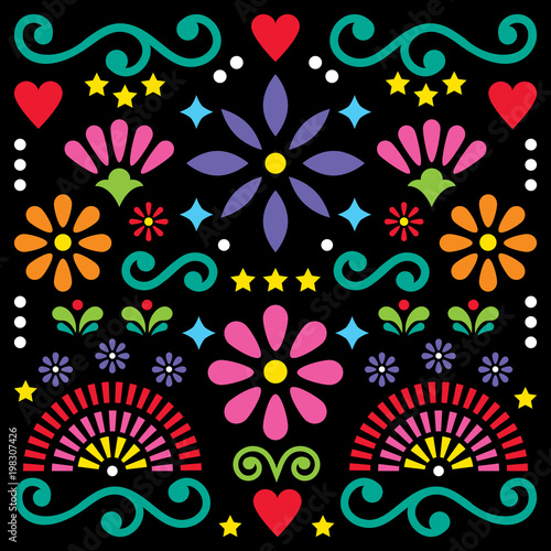 Fotografija  Mexican folk art vector pattern, colorful design with flowers greeting card insp