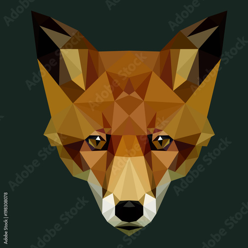 Fototapeta Vector polygonal fox head