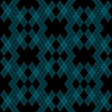 Mint Blue Green Tartan Vintage Seamless On Black Background Vector Illustration.
