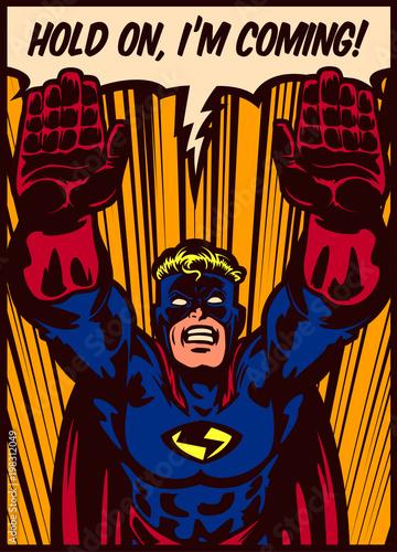 Pop-artu komiksu stylu superbohatera pływające do ilustracji wektorowych projekt plakatu ratowniczego