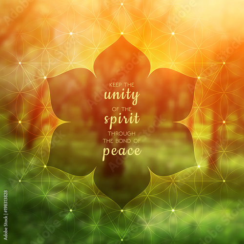 Spiritual illustration with inspirational phrase