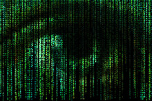 Digital Eye. Green Matrix Background. Concept Of Artificial Intelligence