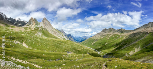 Foto auf Gartenposter Gebirge Panorama of the Alps in summer. View on the Seigne pass (col de la seigne) in Italy during Tour du Mont Blanc hike
