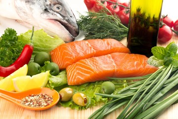 Fototapeta Fresh salmon steak and vegetables