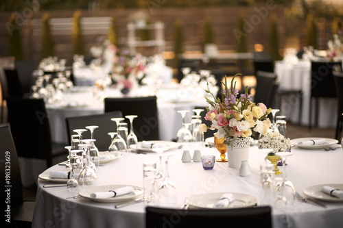 Formal dinner service at a outdoor wedding banquet Canvas Print