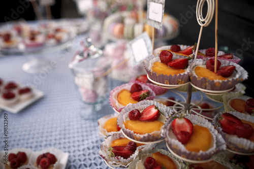 Outdoor Wedding Candy Bar With French Desserts