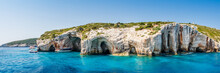 Tourist Boats Close To Blue Caves At The Cliff Of Zakynthos Island With, Greece, Panorama View