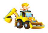 Cartoon funny and happy scene with kid playing worker in the toy excavator - on white background - illustration for children