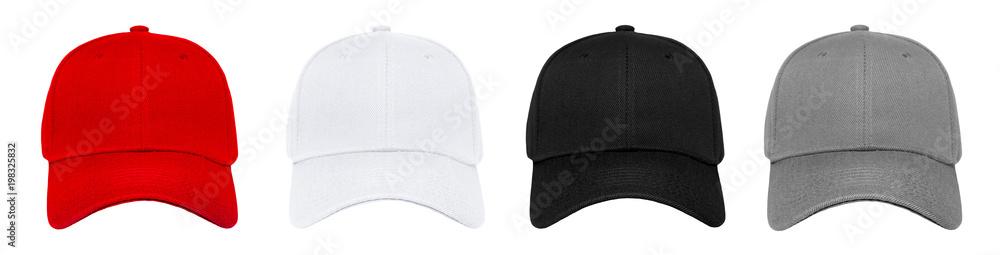 Fototapety, obrazy: Blank baseball cap 4 color set on white background