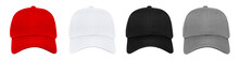 Blank Baseball Cap 4 Color Set On White Background