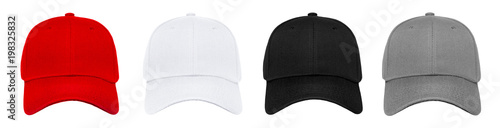 Blank baseball cap 4 color set on white background Wallpaper Mural
