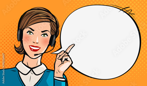 Call center, customer support, helpdesk or service concept. Beautiful young girl with headset. Pop art retro comic style. Cartoon vector illustration