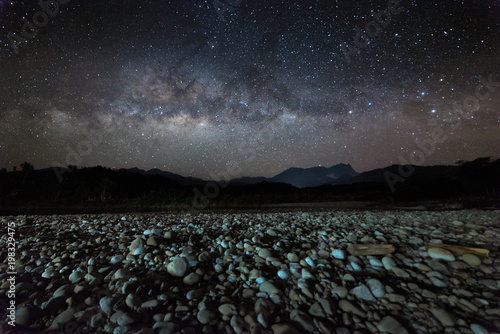 Poster Prune Nightscape scenery with starry and milky way