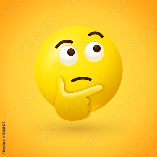 Fotografie, Obraz  Thinking face emoji - emoticon face shown with a single finger and thumb resting